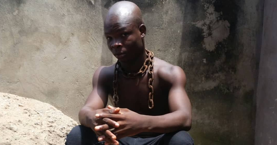 Rapper AY Poyoo chews plantain leaves to prove that he is