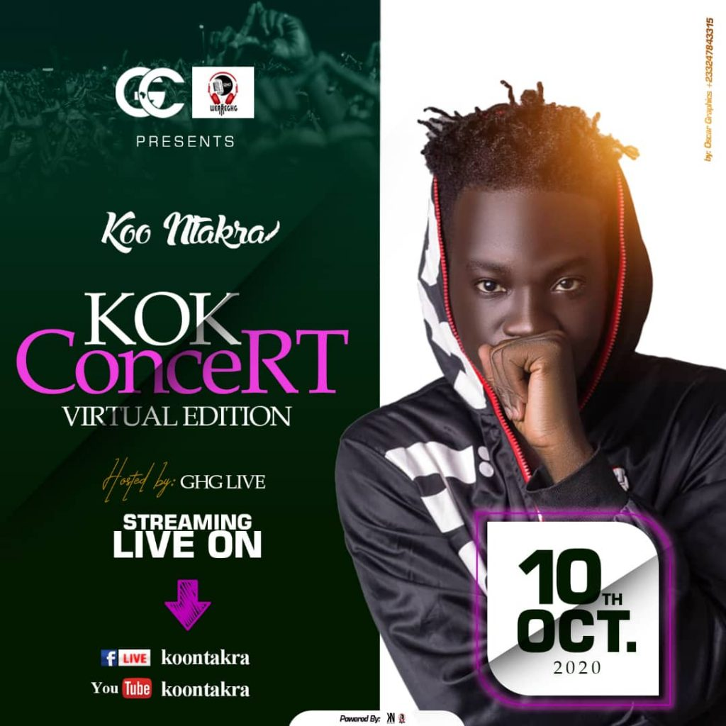 Koo Ntakra 'KOK Concert' Virtual Edition Slated for Saturday 10th October, Hosted by GHG Live