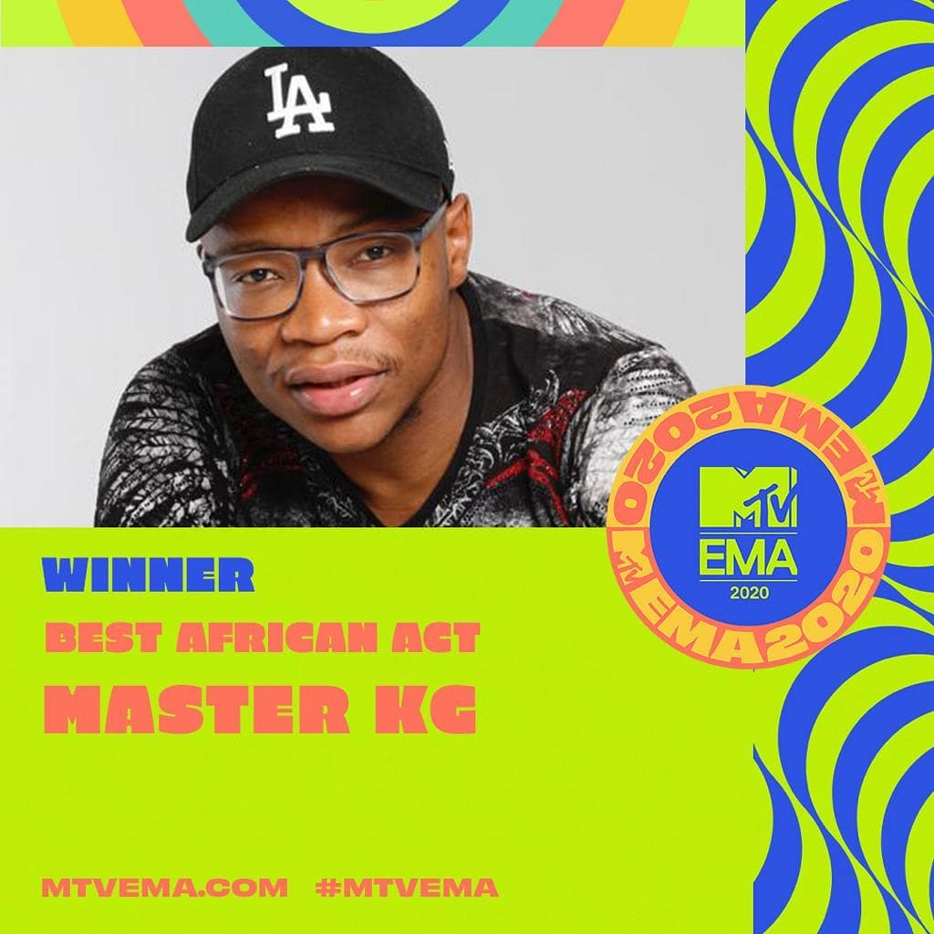 Master KG wins 'Best African Act' at MTV EMAs