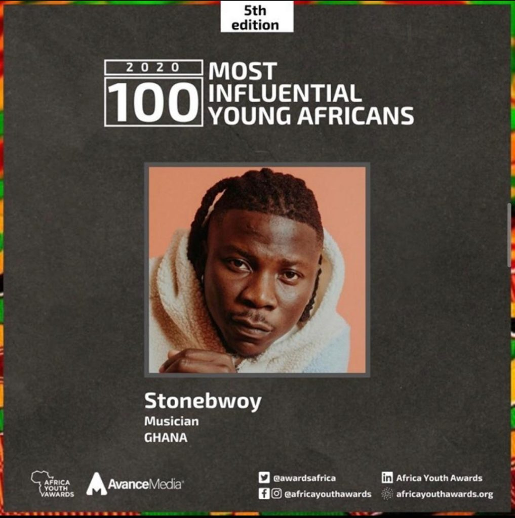 Stonebwoy listed amongst 2020 Most Influential Young Africans in Entertainment