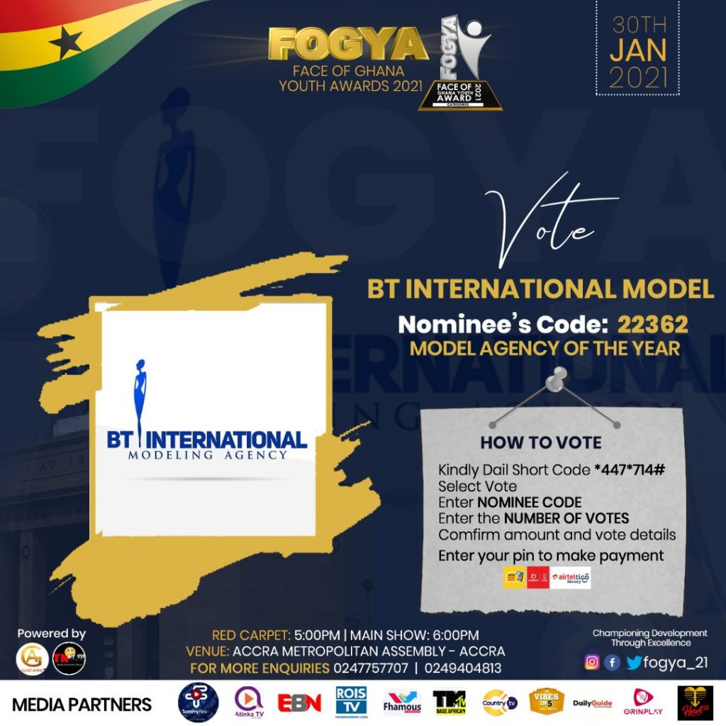 BT International Modeling Agency gets nominated in Face of Ghana Youth Awards 2021